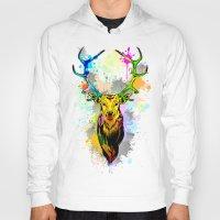 popart Hoodies featuring Deer PopArt Dripping Paint by BluedarkArt