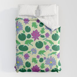 Jumping Frogs of Lily Pad Valley Comforters