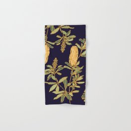 Banksia on Indigo Blue Botanical Illustration Hand & Bath Towel