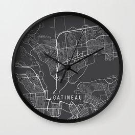 Gatineau Map, Canada - Gray Wall Clock
