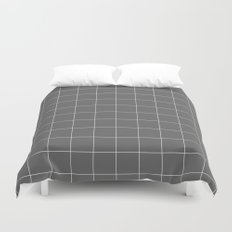 Grey and White Grid Duvet Cover