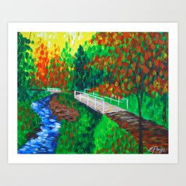 Creekside Bridge Art Print