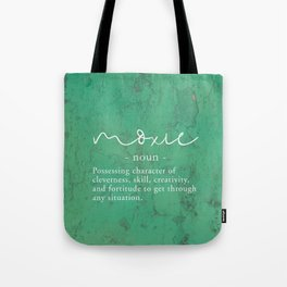 Moxie Definition - White on Green Texture Tote Bag