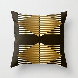 Gold Black Geometric Design Throw Pillow