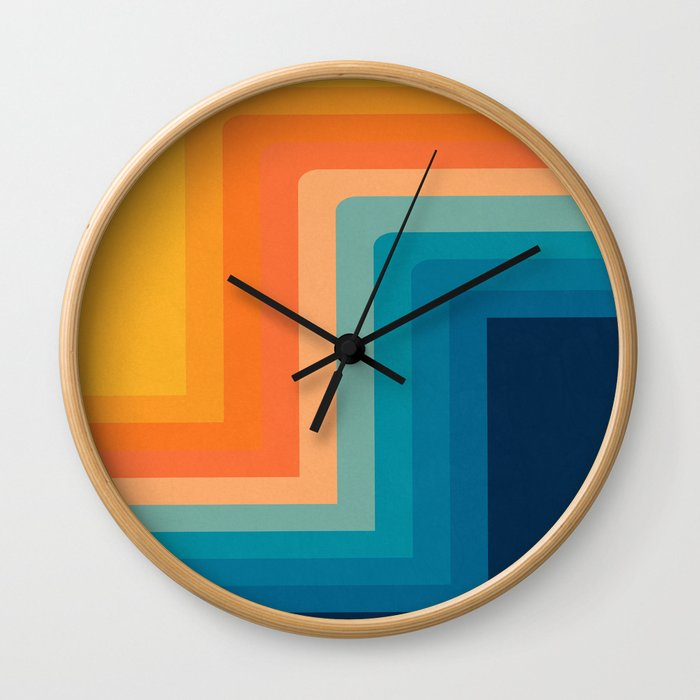 Retro 70s Color Lines Wall Clock