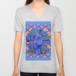 Blue Diamond Patterns Morning Glories Art Unisex V-Neck