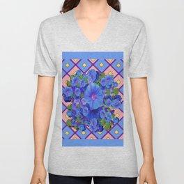 Blue Diamond Patterns Morning Glories Art Unisex V-Neck