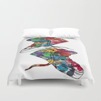 sneakers Duvet Covers featuring Paint sneakers by Cindys