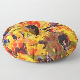 Golden Sunflower Garden Floor Pillow