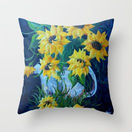 Sunflowers in a Country Pot Throw Pillow