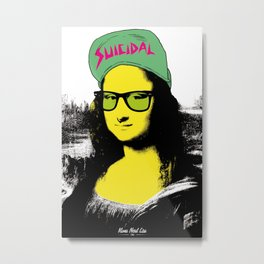 Mona Nerd Lisa Metal Print
