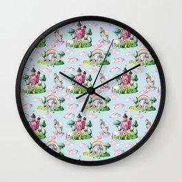 Unicorns. Watercolor Wall Clock