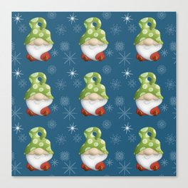 Blue Winter Gnome Pattern Canvas Print