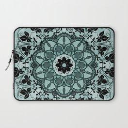 Floral Mandala Blue Black Spiritual Zen Bohemian Hippie Yoga Mantra Meditation Laptop Sleeve