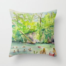 Krause Springs - historic Texas natural springs swimming hole Throw Pillow