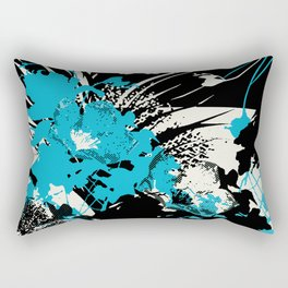tropical flower silhouettes in sky blue Rectangular Pillow