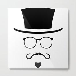 Hipster Mustache Fisherman Metal Print