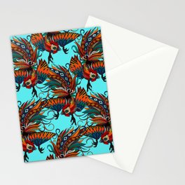 rooster ink turquoise Stationery Cards