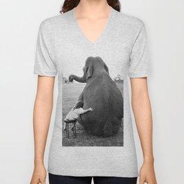 Odd Best Friends, Sweet Little Girl hugging elephant black and white photograph Unisex V-Neck