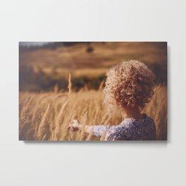 Girl in the field Metal Print