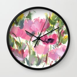 Pink Poppy Graphic Wall Clock