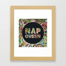 Nap Queen in Floral Flowers Framed Art Print