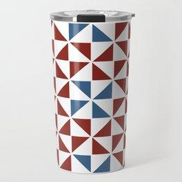 Pinwheel Quilt Pattern in Red and Blue Travel Mug