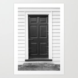 Door with Cobwebs in Black and White Art Print