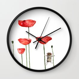 Little mouse loves big poppies  Wall Clock