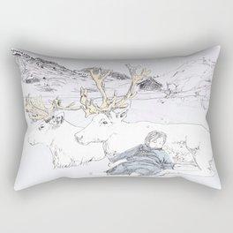 Two Reindeers Rectangular Pillow