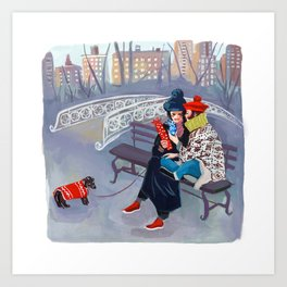 Exchanging Gifts in Central Park Art Print