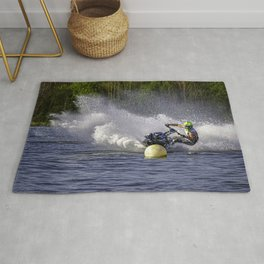 Jet ski on water Rug