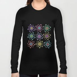 Gold and Silver Atomic Structure Pattern Long Sleeve T-shirt