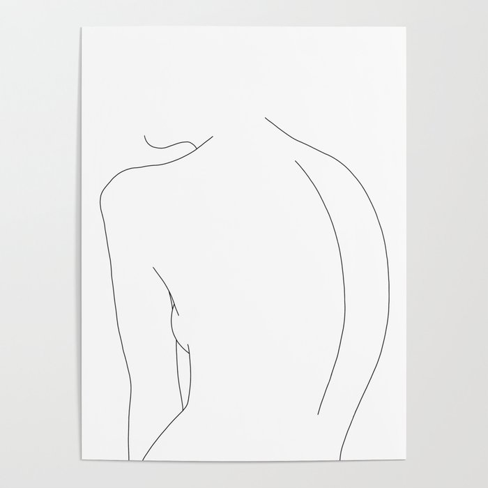 Minimal line drawing of women's body - Alex Poster