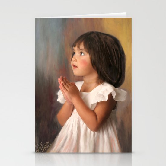 Precious child praying by marywhitmer