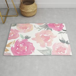 Muted Floral Watercolor Design  Rug