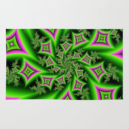 Green And Pink Shapes Fractal Rug