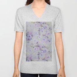 Vintage lavender gray botanical roses floral Unisex V-Neck