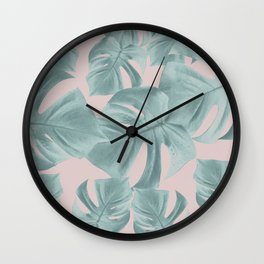 Monstera Leaves Pattern #2 #tropical #decor #art #society6 Wall Clock