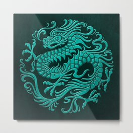 Traditional Teal Blue Chinese Dragon Circle Metal Print