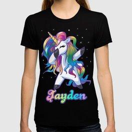 JAYDEN Name Personalized Custom Rainbow Unicorn Dabbing T-shirt