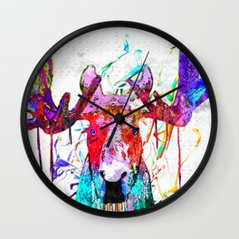 Moose Watercolor Grunge Wall Clock