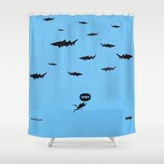 WTF? Tiburones! Shower Curtain