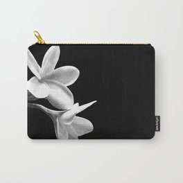 White Flowers Black Background Carry-All Pouch