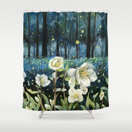 Magical Forest at Night, Fireflies and Helleborus Shower Curtain