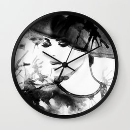 Beautiful face. woman portrait with hat. abstract watercolor. fashion background Wall Clock