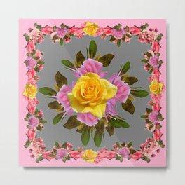 GREY PINK GARDEN FLOWERS YELLOW ROSE  Art Metal Print