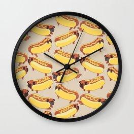 Pugs Hotdog Wall Clock