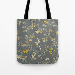 vintage floral vines - greys & mustard Tote Bag