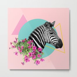 zebra and petunias Metal Print